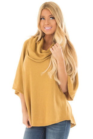 Mustard Short Sleeve Sweater with Cowl Neck front close up