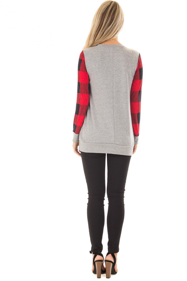 Grey Long Sleeve Top with Red Plaid Sleeves and Heart back full body