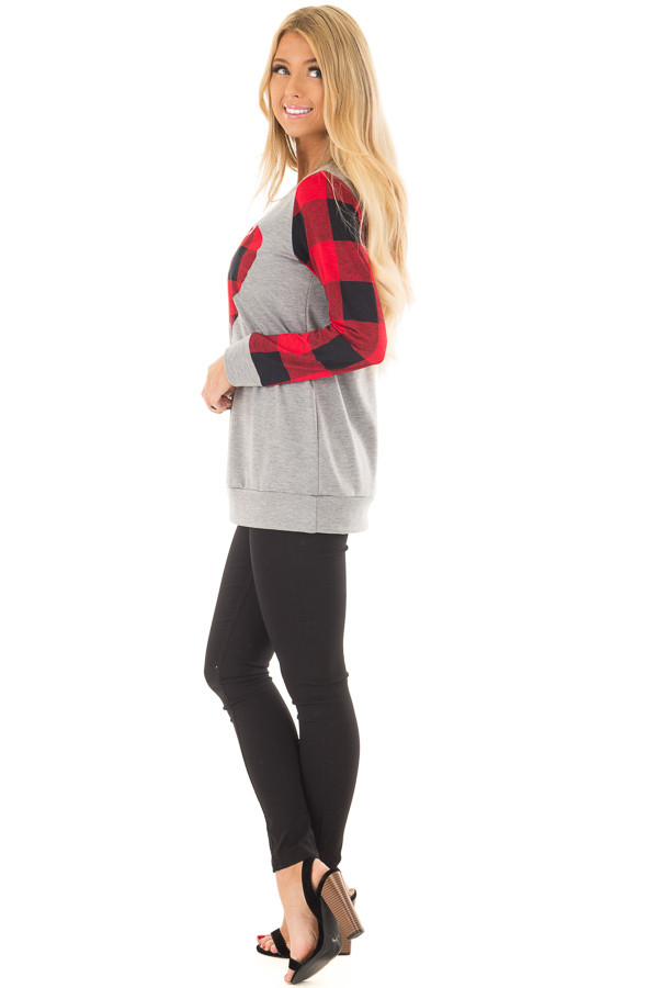 Grey Long Sleeve Top with Red Plaid Sleeves and Heart side full body