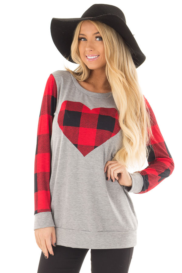 Grey Long Sleeve Top with Red Plaid Sleeves and Heart front close up
