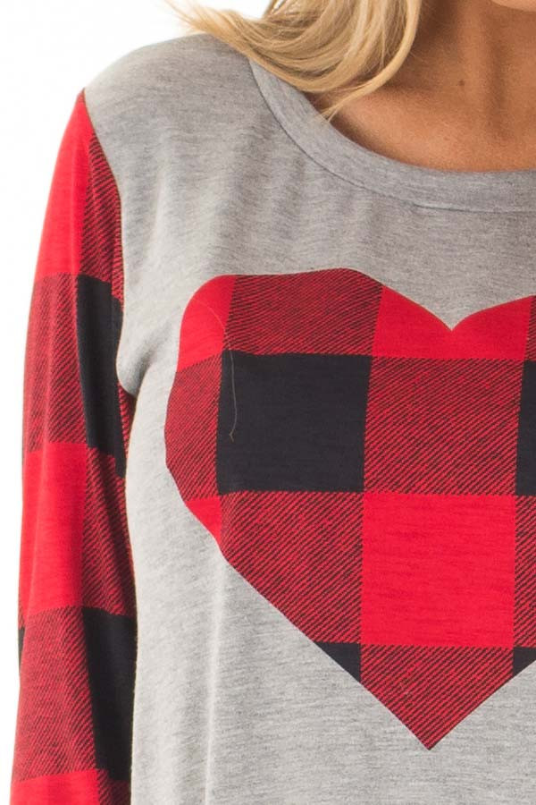Grey Long Sleeve Top with Red Plaid Sleeves and Heart detail