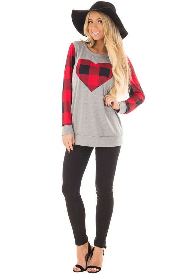 Grey Long Sleeve Top with Red Plaid Sleeves and Heart front full body