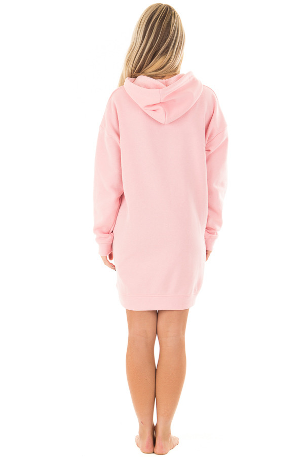 Bright Pink Oversized Long Hoodie with Pockets back full body