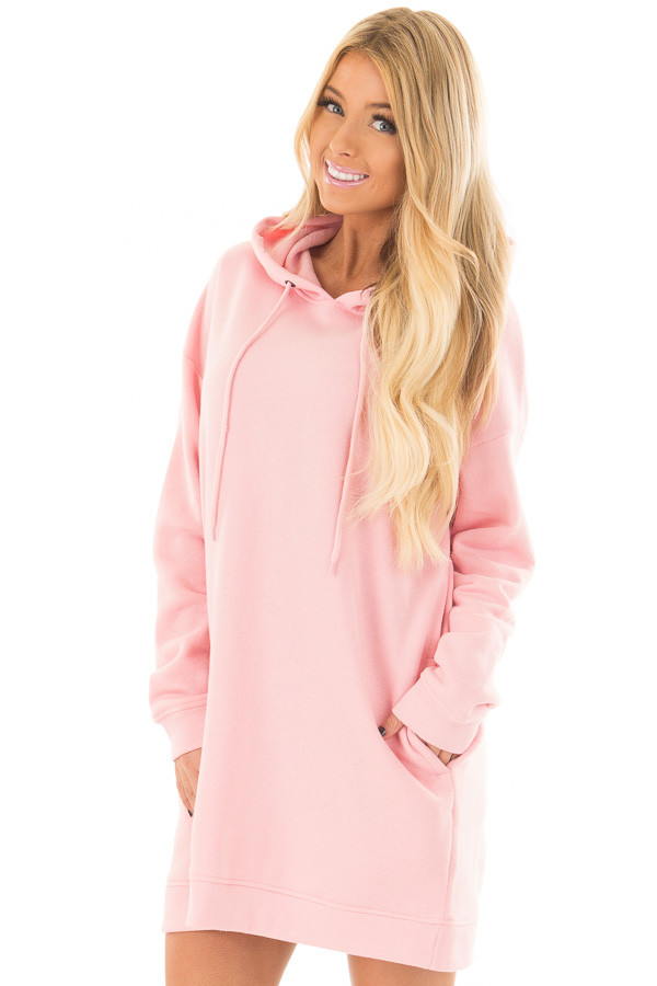 Bright Pink Oversized Long Hoodie with Pockets front close up