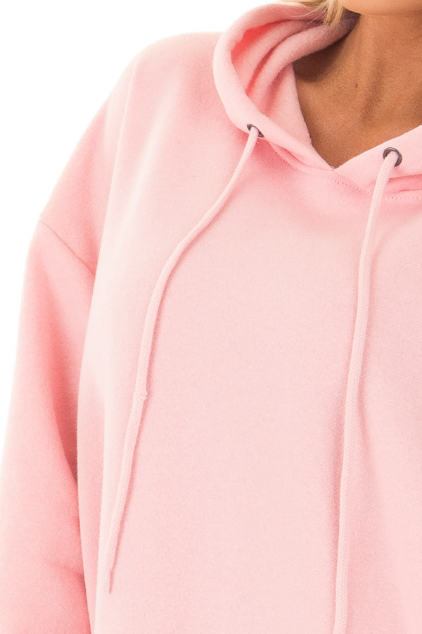 Bright Pink Oversized Long Hoodie with Pockets detail