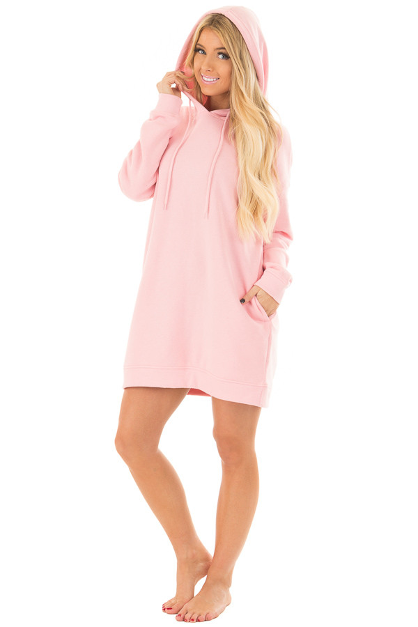 Bright Pink Oversized Long Hoodie with Pockets front full body
