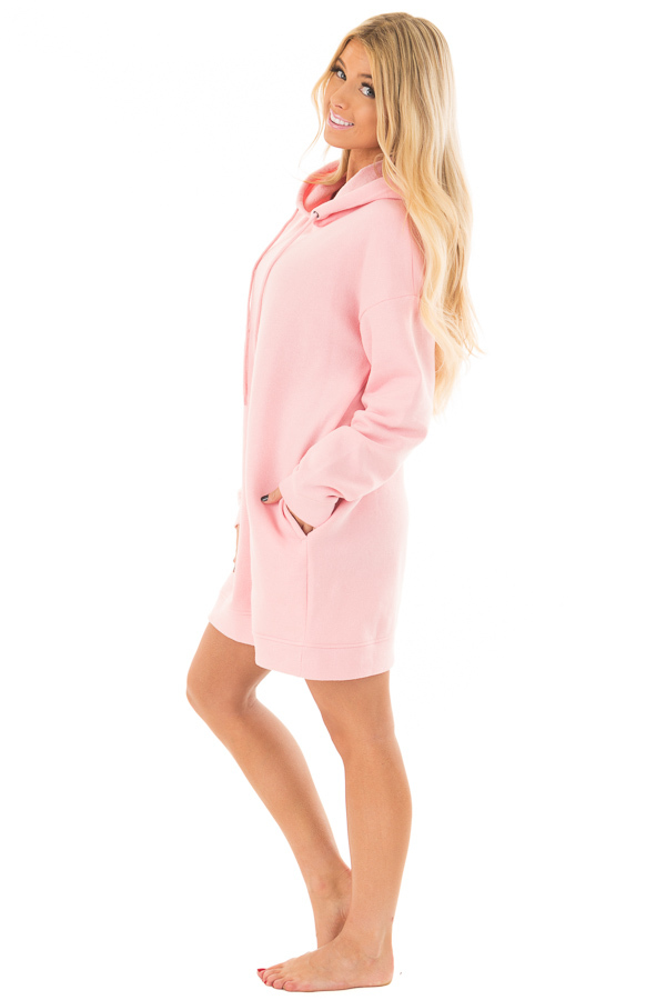 Bright Pink Oversized Long Hoodie with Pockets side full body