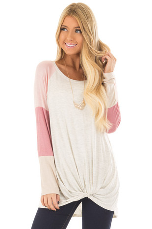 Light Grey Twist Top with Pink Color Block Sleeves front closeup