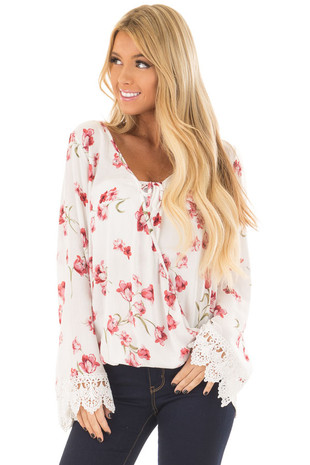 White and Blush Floral Print Blouse with Lace Cuffs front closeup