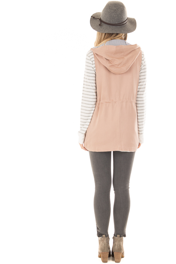 Taupe Hoodie Vest with Striped Lining back full body