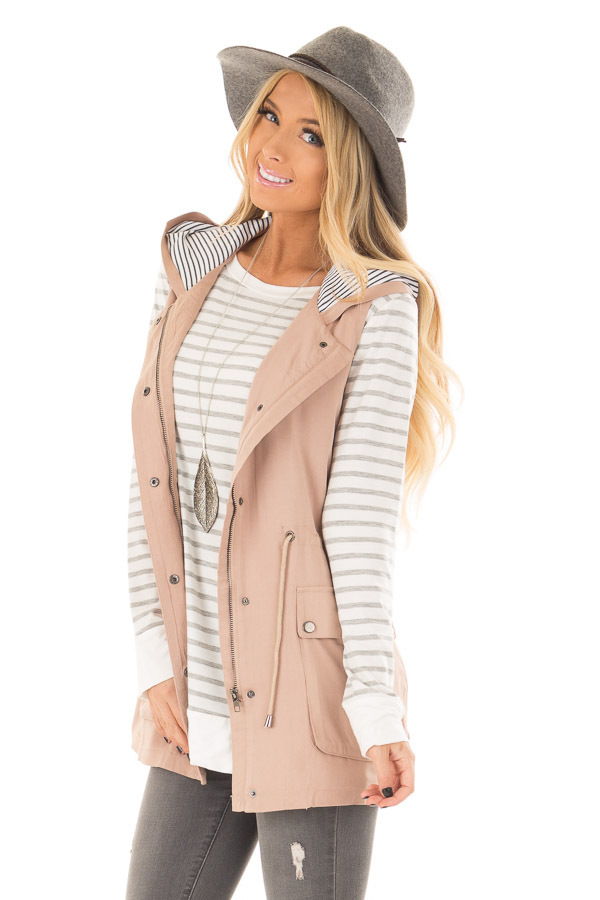Taupe Hoodie Vest with Striped Lining front closeup