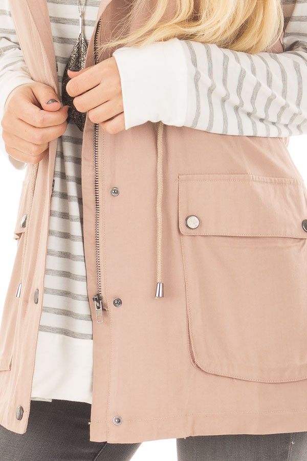 Taupe Hoodie Vest with Striped Lining front detail