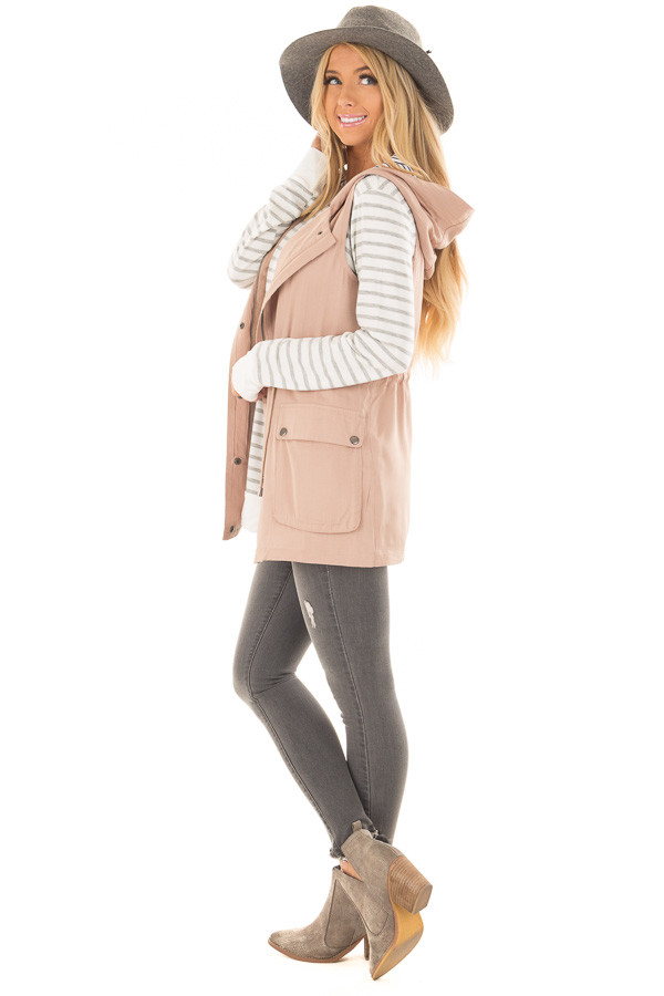 Taupe Hoodie Vest with Striped Lining side full body
