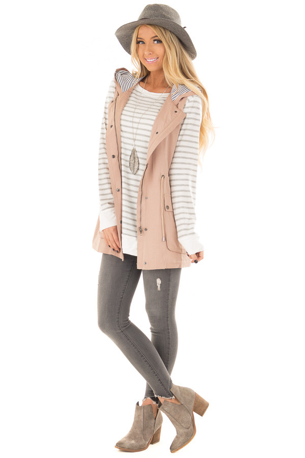 Taupe Hoodie Vest with Striped Lining front full body