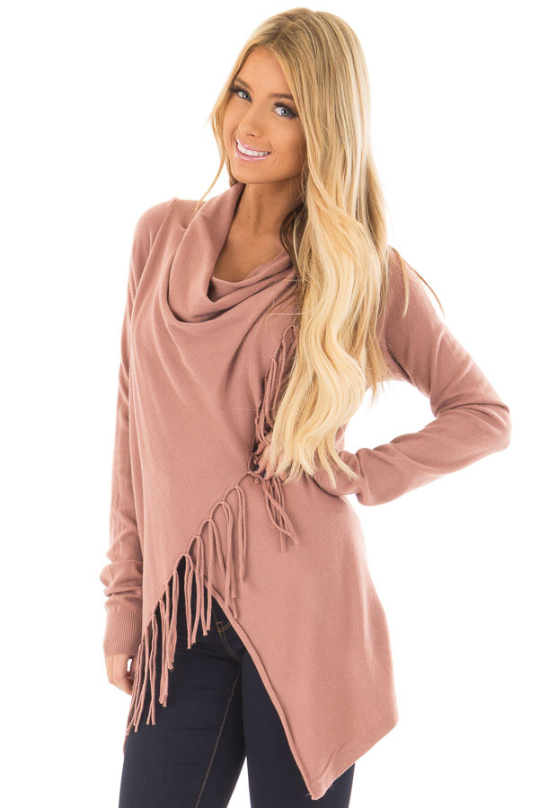 Dusty Rose Wrap Style Cardigan with Fringe Detail front close up