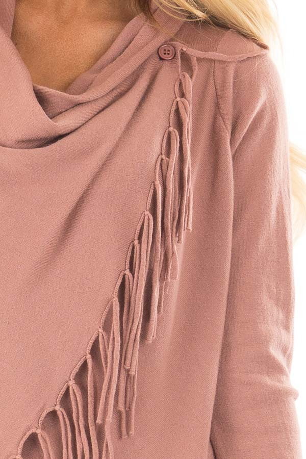 Dusty Rose Wrap Style Cardigan with Fringe Detail detail
