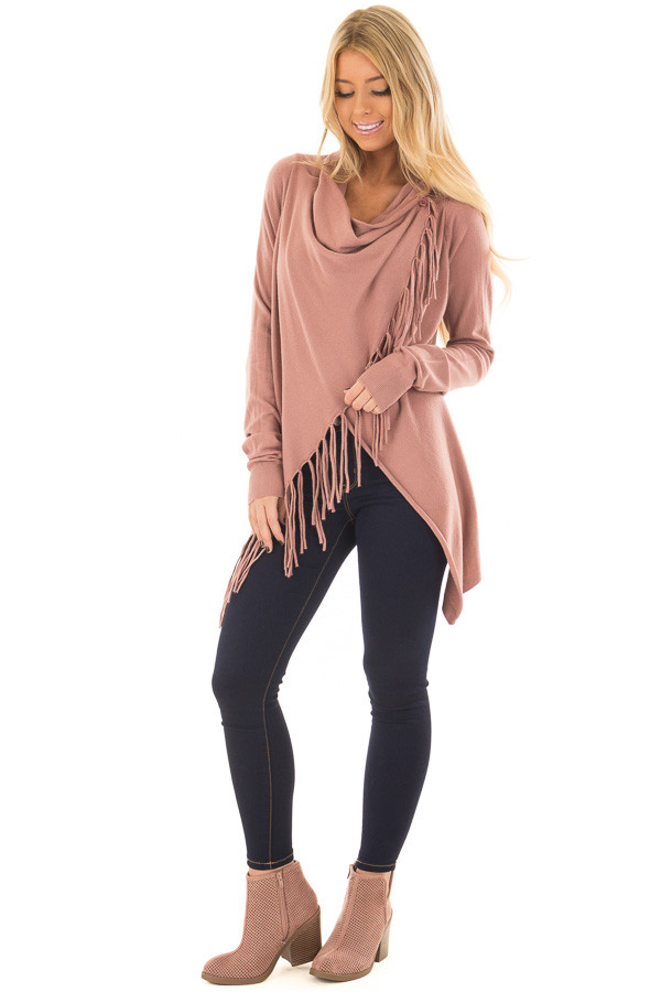 Dusty Rose Wrap Style Cardigan with Fringe Detail front full body