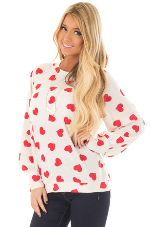 Ivory and Red Heart Print Long Flowy Sleeve Top front close up