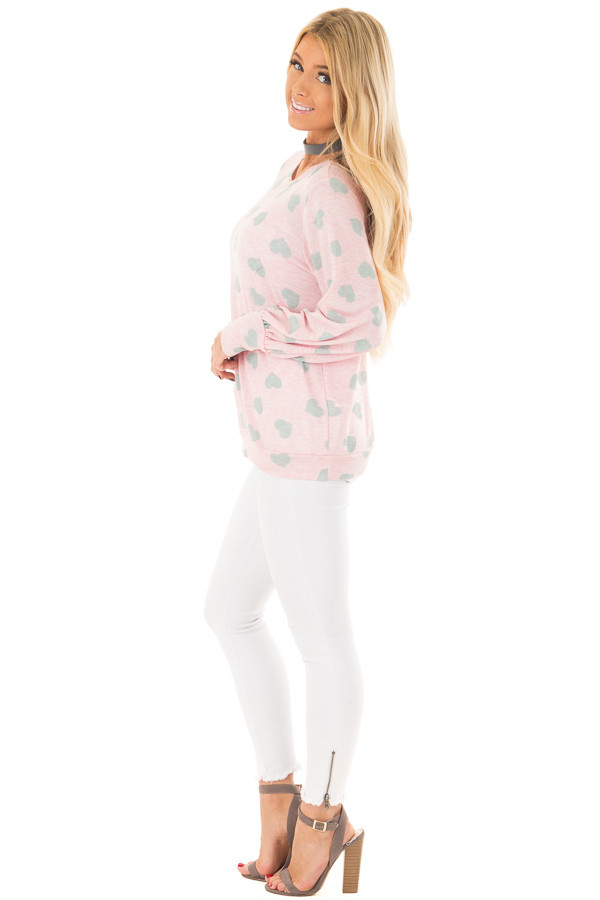 Blush and Grey Heart Print Long Flowy Sleeve Top side full body