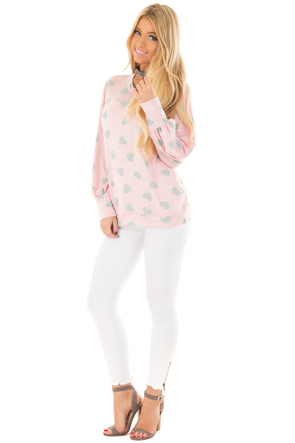 Blush and Grey Heart Print Long Flowy Sleeve Top front full body