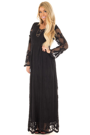 Black Lace Maxi Dress front close up