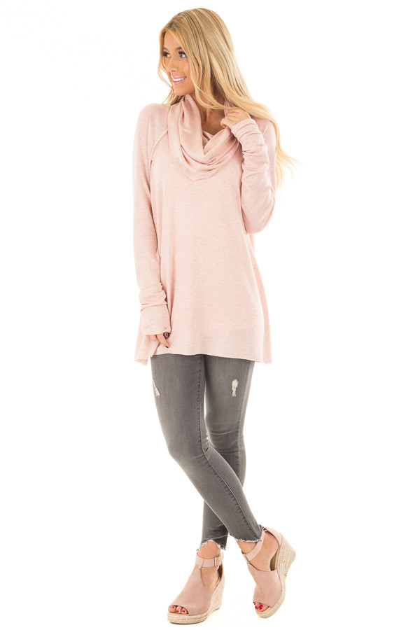 Dusty Pink Cowl Neck Top front full body