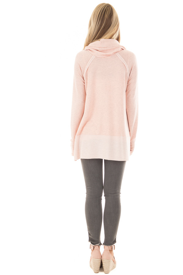 Dusty Pink Cowl Neck Top back full body