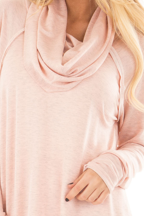 Dusty Pink Cowl Neck Top front detail