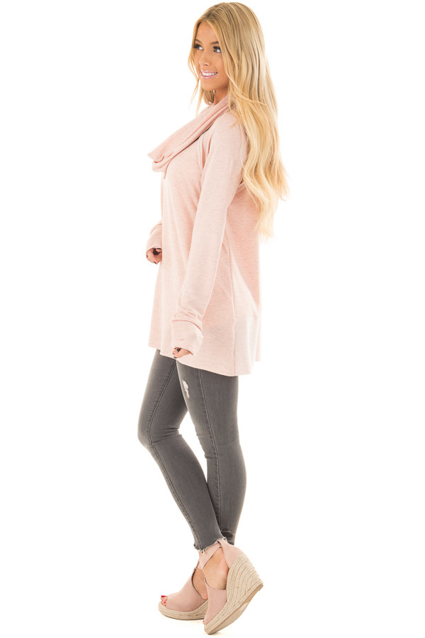 Dusty Pink Cowl Neck Top side full body
