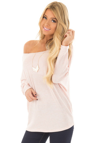 Blush Off the Shoulder Dolman Top front close up