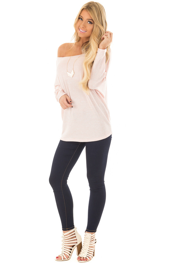 Blush Off the Shoulder Dolman Top front full body