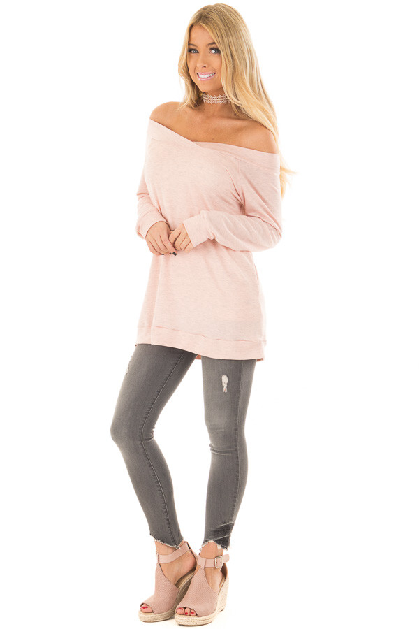 Light Pink Cross Over Off the Shoulder Top front full body