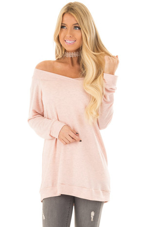 Light Pink Cross Over Off the Shoulder Top front closeup
