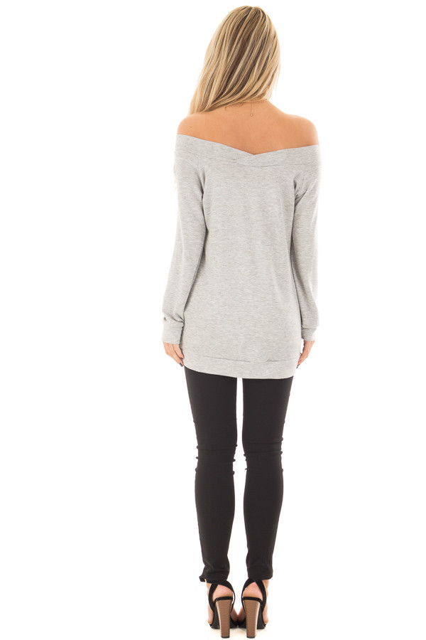 Heather Grey Cross Over Off the Shoulder Top back full body