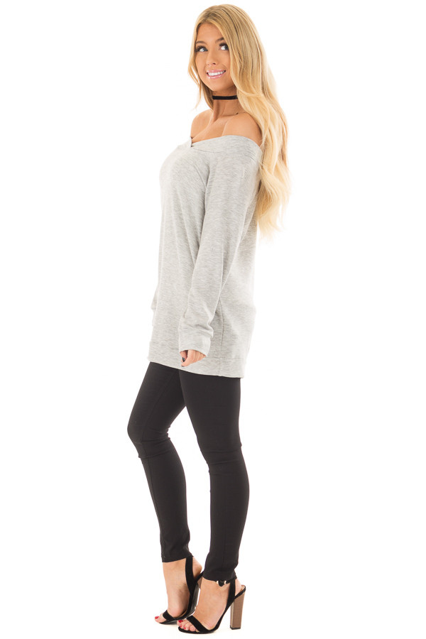 Heather Grey Cross Over Off the Shoulder Top side full body