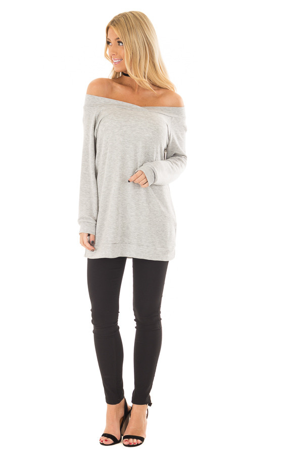 Heather Grey Cross Over Off the Shoulder Top front full body