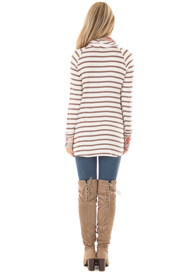 Ivory and Coco Striped Top with Floral Print Contrast back full body
