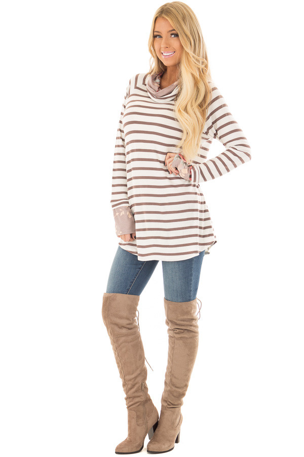 Ivory and Coco Striped Top with Floral Print Contrast front full body