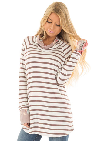 Ivory and Coco Striped Top with Floral Print Contrast front close up