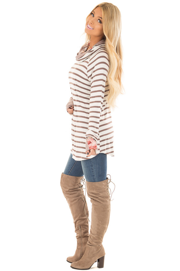 Ivory and Coco Striped Top with Floral Print Contrast side full body