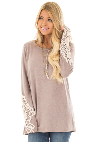 Mocha Fleece Lined Top with Sheer Lace Detail front close up