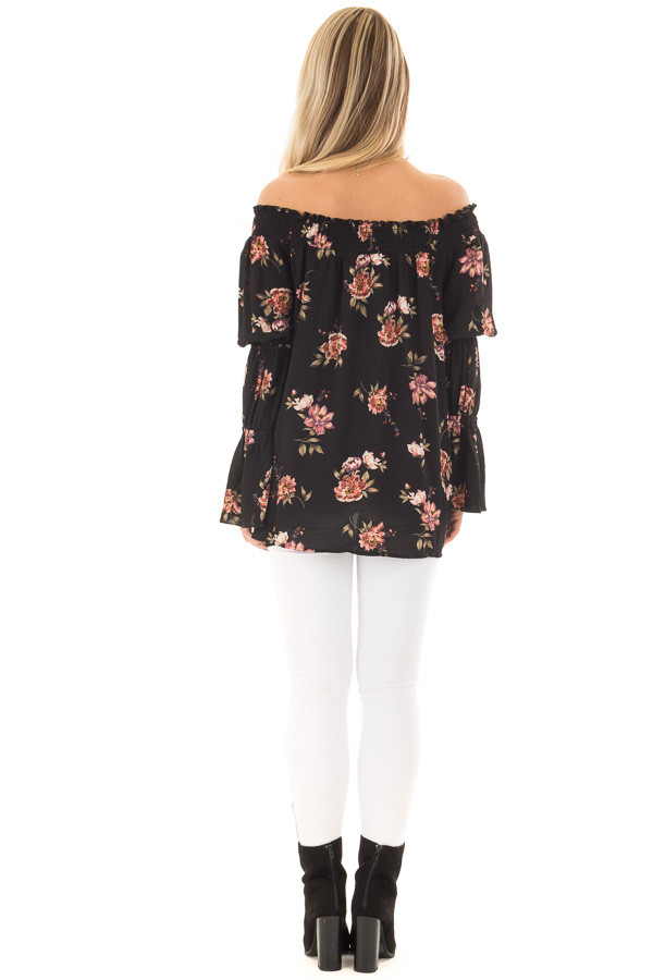 Black Floral Print Off the Shoulder Top with Bubble Sleeves back full body