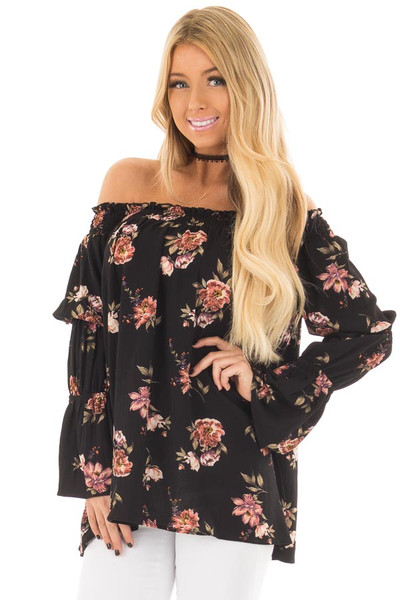 Black Floral Print Off the Shoulder Top with Bubble Sleeves front close up