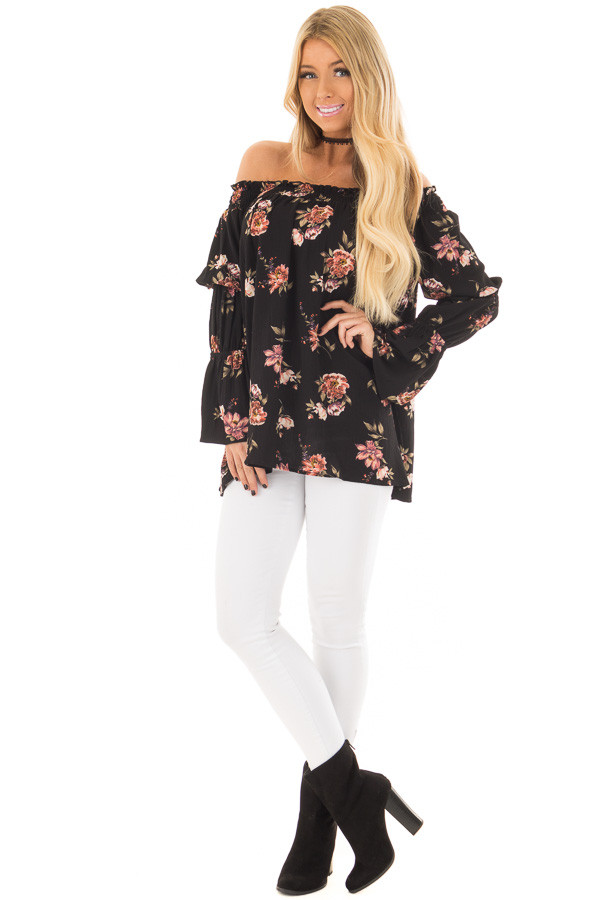 Black Floral Print Off the Shoulder Top with Bubble Sleeves front full body