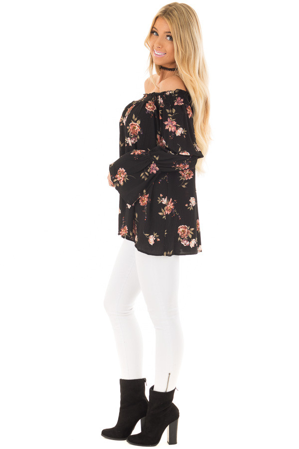 Black Floral Print Off the Shoulder Top with Bubble Sleeves side full body