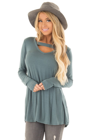 Slate Blue V Neck Top with Chest Cutout front closeup
