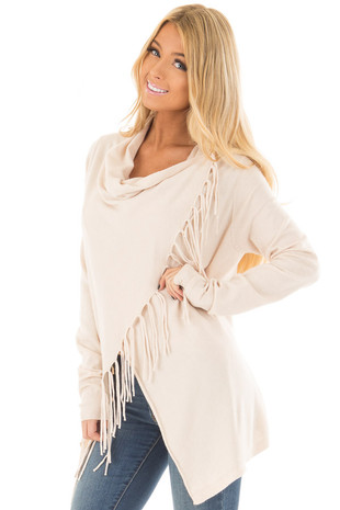 Oatmeal Wrap Style Cardigan with Fringe Detail front close up