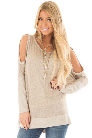 Oatmeal Cold Shoulder Oversized Comfy Top front close up