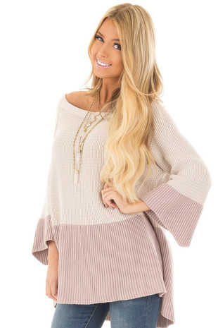 Oatmeal and Mauve Color Blocked Sweater front close up