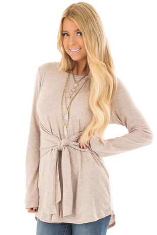 Taupe Long Sleeve Tunic with Waist Tie front close up